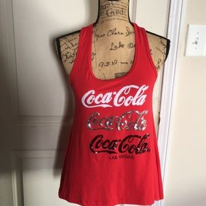 Coca Cola Las Vegas Bling Racer Back Red Top Small